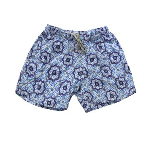 Swim Short - Light-blue Majolica Print