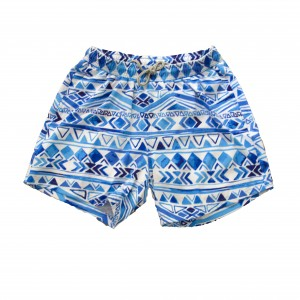 Swim Short - Blue Ikat Print