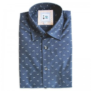 Cotton Printed Dogs - col. Blue